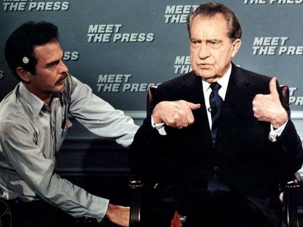Richard Nixon, pictured in 1988, also battled with the press - but Trump is something new