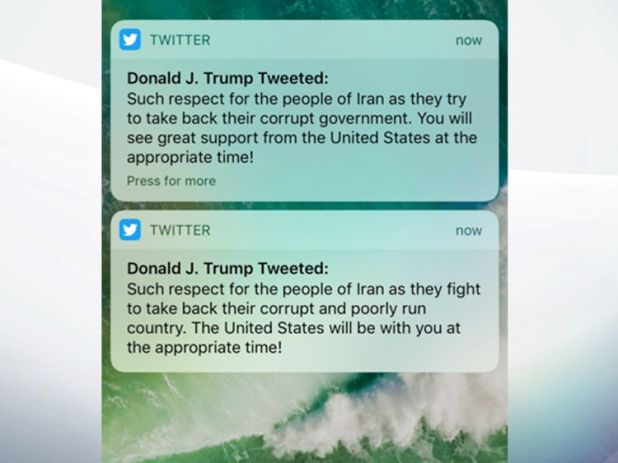 A tweet about Iran by President Trump was deleted and quickly replaced