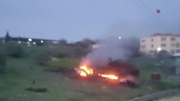 Fighter jet in flames