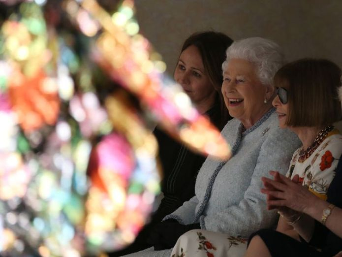 The Queen looked thrilled queen attends first london fashion week front row in surprise visit Queen attends first London Fashion Week front row in surprise visit 2371802200111368307 4236205