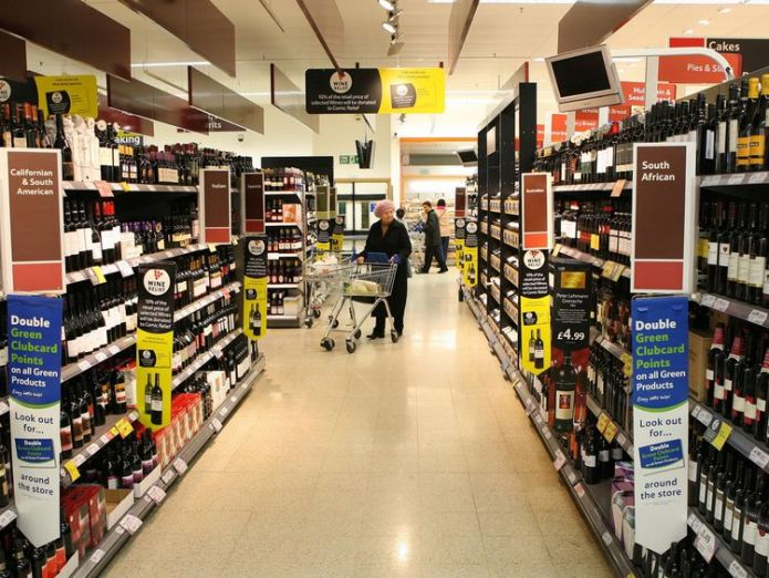 The alcohol aisles in a Tesco supermarket.
