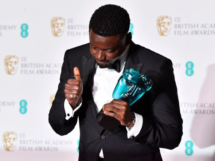 LONDON, ENGLAND - FEBRUARY 18: Actor Daniel Kaluuya, winner for the EE Rising Star award, poses in the press room during the EE British Academy Film Awards (BAFTA) held at Royal Albert Hall on February 18, 2018 in London, England. (Photo by Jeff Spicer/Jeff Spicer/Getty Images) Three Billboards outside Ebbing, Missouri claims five awards Three Billboards outside Ebbing, Missouri claims five awards skynews daniel kaluuya rising star 4234768