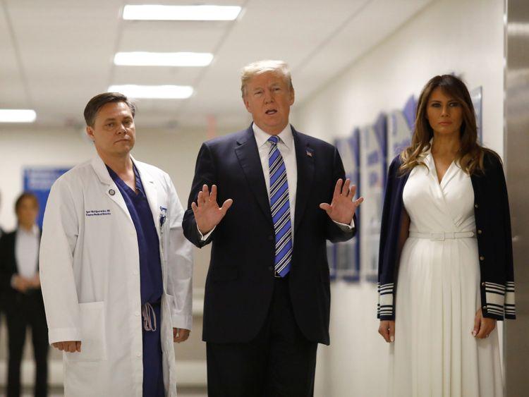 The US President talks with a trauma surgeon at Broward Health North Hospital