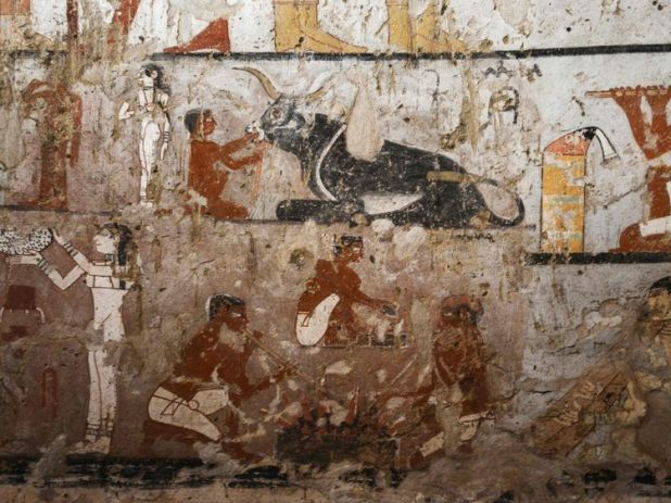 The wall paintings are unusually colourful well preserved