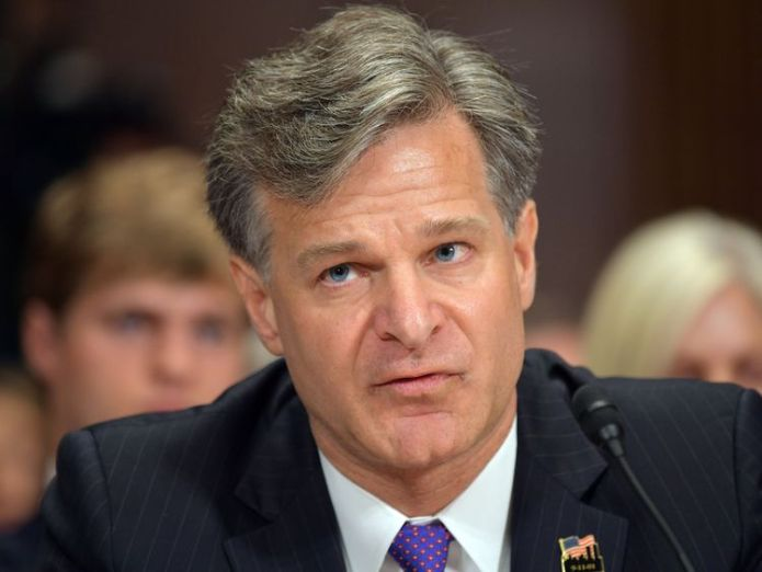FBI director Christopher Wray is facing calls to resign FBI boss faces calls to resign over missed warning FBI boss faces calls to resign over missed warning skynews fbi christopher wray 4233242