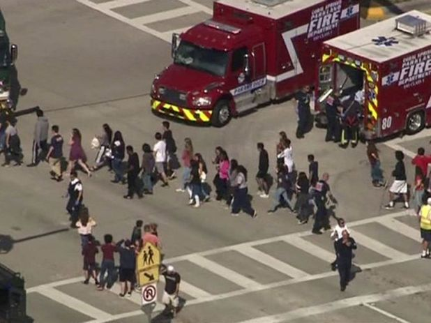 Students were evacuated from Marjory Stoneman Douglas High School during a shooting incident in Parkland in February