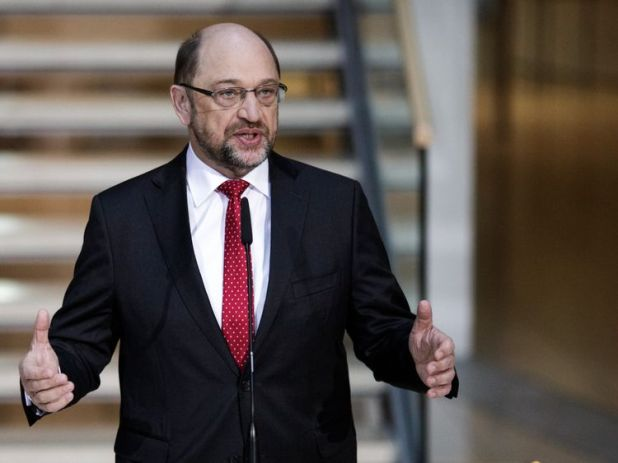 Martin Schulz, leader of the German Social Democrats (SPD), as the last talks began