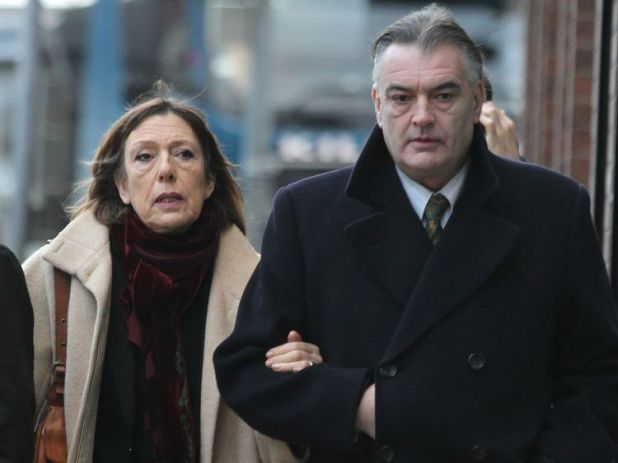 Ian Bailey (R) arrives with his partner Jules Thomas at the Supreme Court in Dublin in 2012