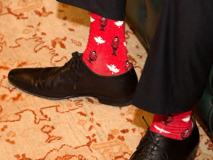 Canadian patterned socks worn by Irish Taoiseach Leo Varadkar, during a visit by the Canadian Prime Minister Justin Trudeau to Farmleigh House in Dublin Why Trudeau is wearing Darth Vader Why Trudeau is wearing Darth Vader skynews leo varadkar socks 4235023