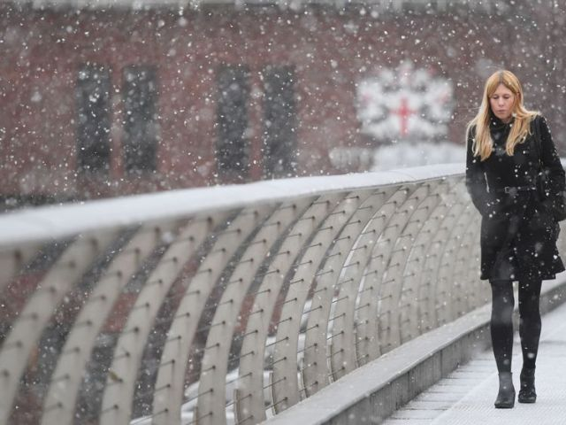 Snow fell in London on Monday morning