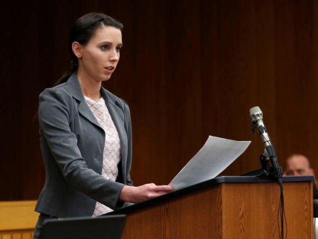 Former gymnast Rachael Denhollander makes a statement during the sentencing hearing of Larry Nassar, a former team USA Gymnastics doctor who pleaded guilty in November 2017 to sexual assault charges, in the Eaton County Court in Charlotte, Michigan, U.S. February 2, 2018
