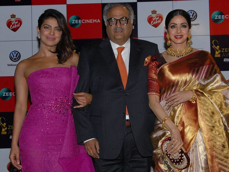 Sridevi (r) with husband Boney Kapoor and actress Priyanka Chopra in December 2017