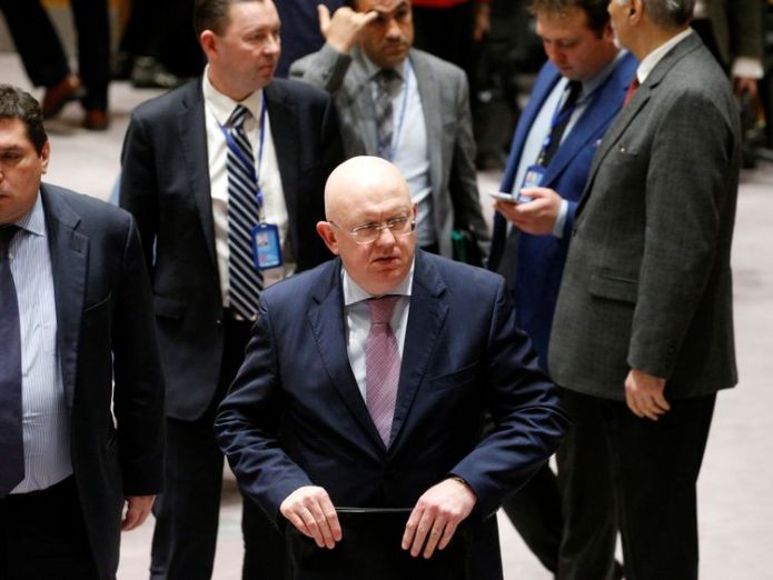 Russian ambassador to the UN Vasily Nebenzya exits after the vote on the ceasefire was postponed Dozens more killed in air raids as UN vote on Syria ceasefire delayed Dozens more killed in air raids as UN vote on Syria ceasefire delayed skynews syria russia un vasily nebenzya 4239346