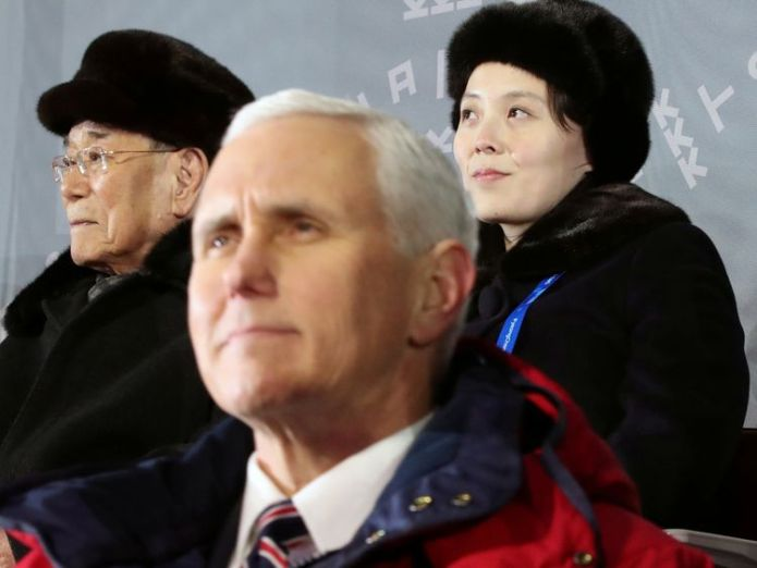 US Vice President Mike Pence did not look pleased to be sitting by Kim Jong Un's sister Kim Yo Jong at the opening ceremony Donald Trump cancels summit with North Korean leader Kim Jong Un Donald Trump cancels summit with North Korean leader Kim Jong Un skynews winter olympics pyeongchang 4233218