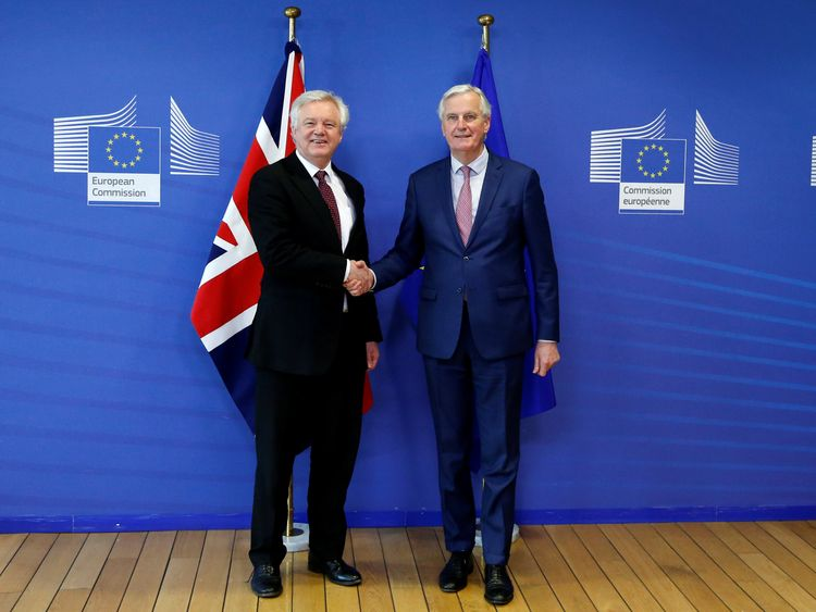 David Davis and European Union's chief Brexit negotiator Michel Barnier