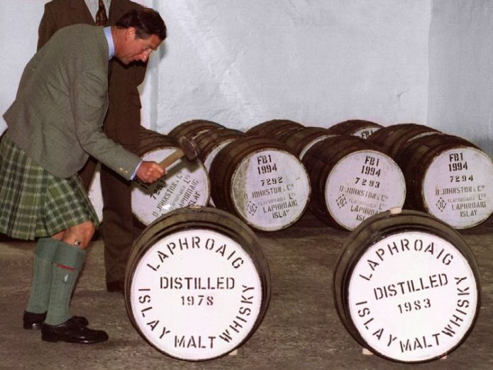 Prince Charles takes Laphroaig whisky on his travels and visited a distillery back in 1994