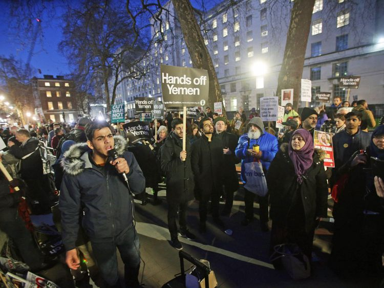 People protest against the official three-day visit to the UK by Saudi Arabia's Crown Prince Mohammed bin Salman