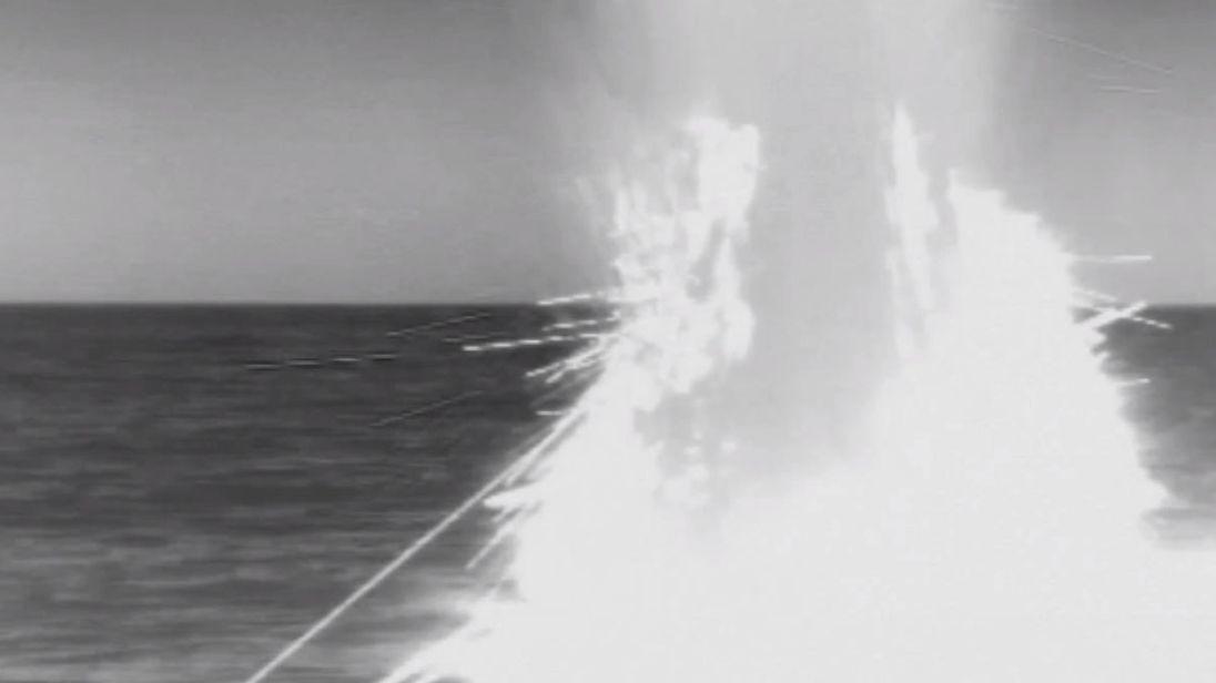 USS John Warner launching Tomahawk cruise missiles