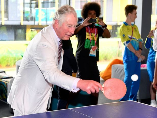 The Royal couple both had a go at table tennis in the Commonwealth Games athlete's village