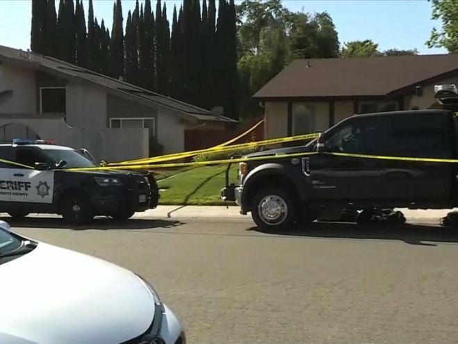 An FBI truck was seen outside a home belonging to DeAngelo