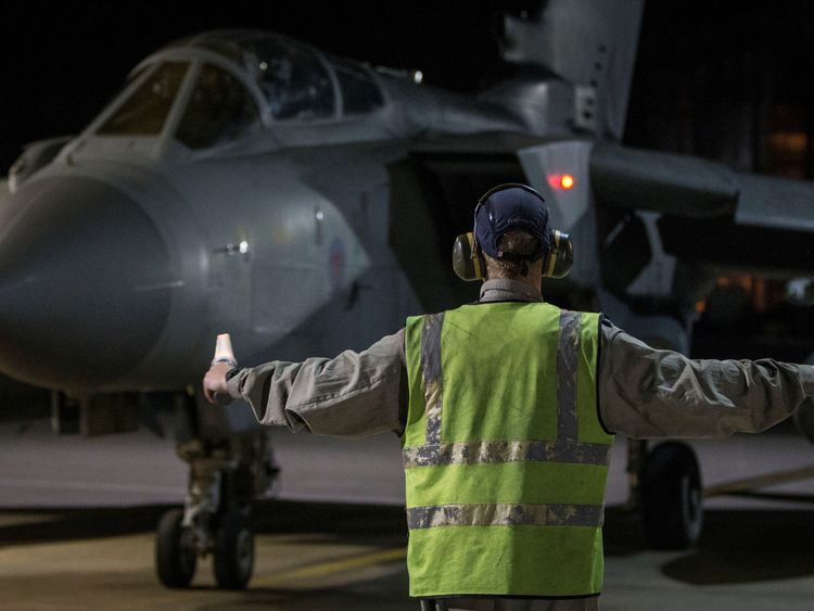 An RAF Tornado taxis into its hangar in Cyprus after completing its mission. Pic: MoD