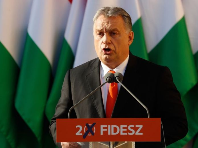 Hungarian Prime Minister Viktor Orban attends his Fidesz party campaign closing rally on April 6, 2018 in Szekesfehervar, Hungary Slovenia heads to the polls as anti-immigrant party looks set to win most seats Slovenia heads to the polls as anti-immigrant party looks set to win most seats skynews viktor orban hungary 4277939
