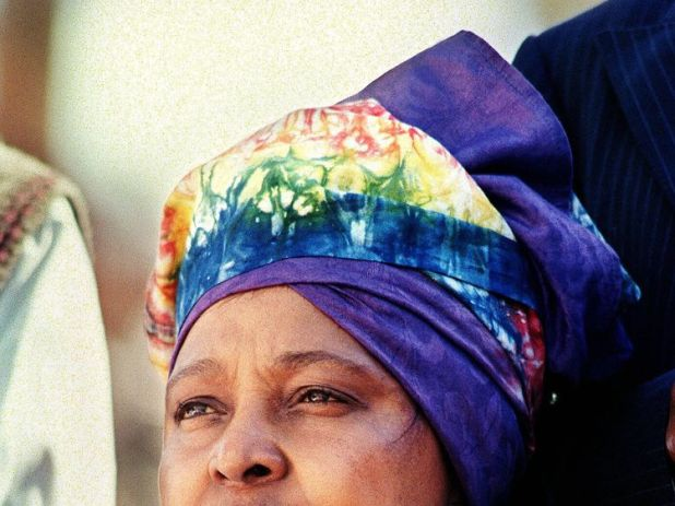 Winnie Madikizela-Mandela at a mass rally prior to the 27 April general election in 1994