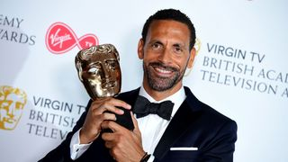 Rio Ferdinand with the single Documentary award in the press room at the Virgin TV British Academy Television Awards 2018 held at the Royal Festival Hall, Southbank Centre, London. PRESS ASSOCIATION Photo. Picture date: Sunday May 13, 2018. See PA story SHOWBIZ Bafta. Photo credit should read: Ian West/PA Wire BAFTA stars 'passionately' back Time's Up campaign BAFTA stars 'passionately' back Time's Up campaign skynews bafta award rio ferdinand 4309775