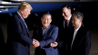 Donald Trump greets the Americans formerly held hostage in North Korea upon their arrival at Joint Base Andrews Donald Trump and Kim Jong Un to meet in Singapore on 12 June Donald Trump and Kim Jong Un to meet in Singapore on 12 June skynews donald trump prisoners hostages 4305467