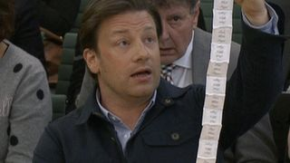 Jamie Oliver ponders the amount of sugar in soft drinks before the 'sugar tax' was implemented Pictures of rotten teeth on drinks bottles could help cut obesity, study finds Pictures of rotten teeth on drinks bottles could help cut obesity, study finds skynews jamie oliver obesity 4298204