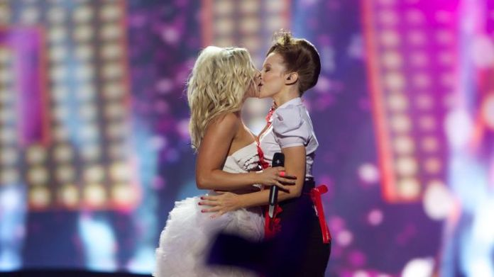 Finland's 2013 entry Krista Siegfrids, left, stirred up some controversy when she kissed a woman on stage Eurovision's history of political voting Eurovision's history of political voting skynews krista siegrids eurovision 4306674