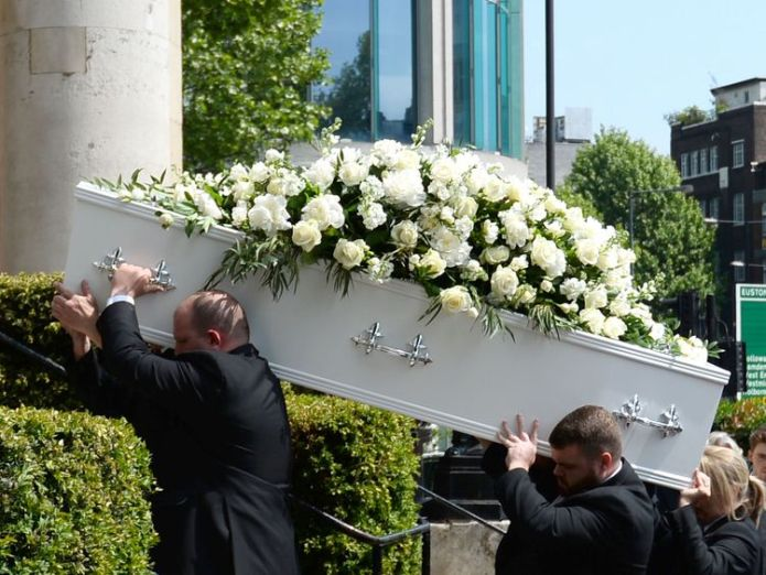 Pall bearers carry the coffin of Supermarket Sweep star Dale Winton  David Walliams and Graeme Souness among mourners at service David Walliams and Graeme Souness among mourners at service skynews dale winton funeral 4317356