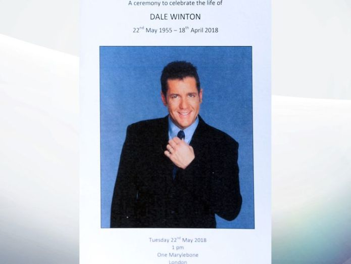 Dale Winton's order of service David Walliams and Graeme Souness among mourners at service David Walliams and Graeme Souness among mourners at service skynews dale winton funeral 4317386