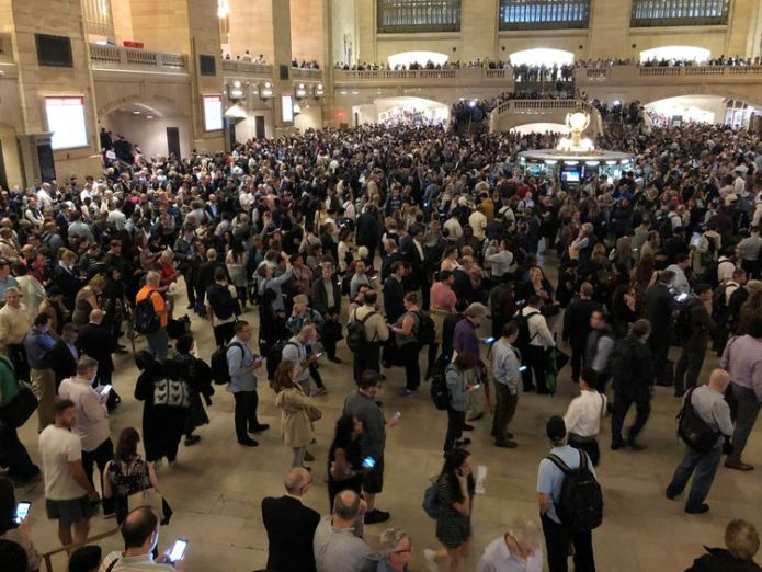 Commuters in New York City were stuck in Grand Central Terminal on Tuesday night due to the storm US storms cause meteotsunami as falling trees kill four US storms cause meteotsunami as falling trees kill four skynews grand central station 4312030