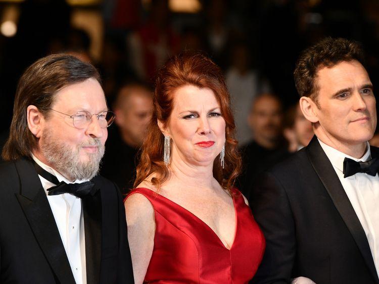 Director Lars von Trier (L) and actors Siobhan Fallon Hogan and Matt Dillon arrive for the screening
