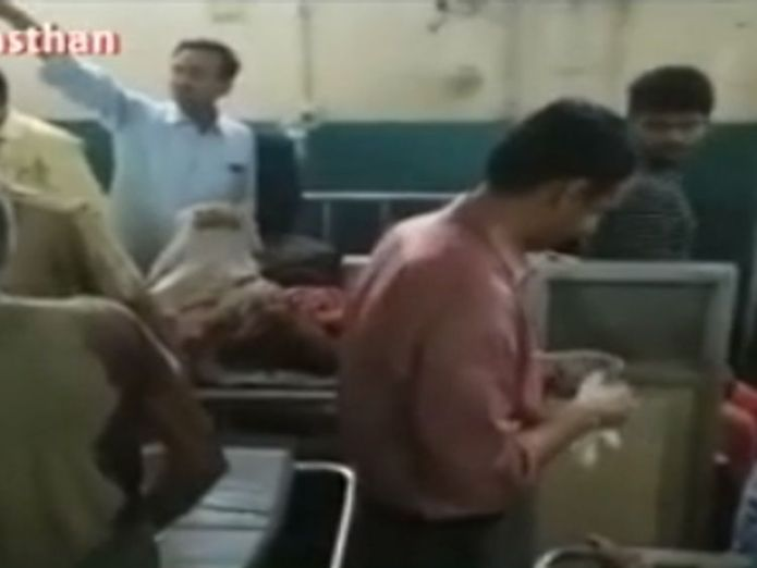 The injured are treated in Bharatpur. Pic: NDTV Indian dust storm kills 77 and leaves 143 injured Indian dust storm kills 77 and leaves 143 injured skynews india dust storm 4299439