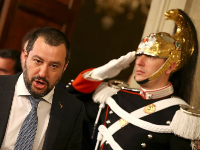 League party leader Matteo Salvini leaves after a meeting with Italian President Sergio Mattarella during the second day of consultations at the Quirinal Palace in Rome, Italy, April 5, 2018.  Why markets are fretting over Italy's coalition Why markets are fretting over Italy's coalition skynews italy matteo salvini 4313753