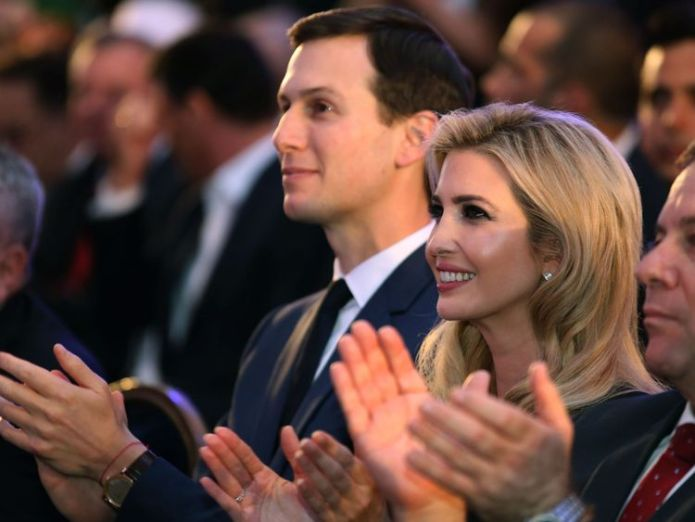 US President's daughter Ivanka Trump (C) and her husband senior White House adviser Jared Kushner (L) attend the official reception on the occasion of the opening of the US Embassy at ?the Ministry of Foreign Affairs in Jerusalem, on May 13, 2018 Israel celebrates controversial US embassy move Israel celebrates controversial US embassy move skynews ivanka kushner jerusalem 4309738