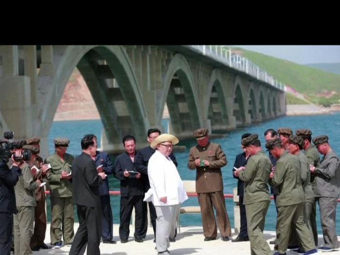 Kim Jong Un inspects a railway bridge June talks with North Korea could be back on June talks with North Korea could be back on skynews kim jong un north korea 4319773
