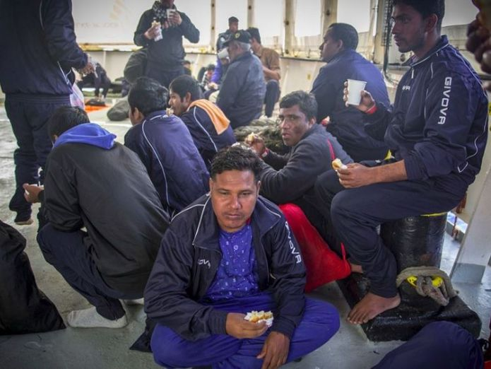 More than 100 people are waiting rescue Bureaucracy row leaves dozens of migrants stranded at sea for three days Bureaucracy row leaves dozens of migrants stranded at sea for three days skynews mediterranean migrants 4304226
