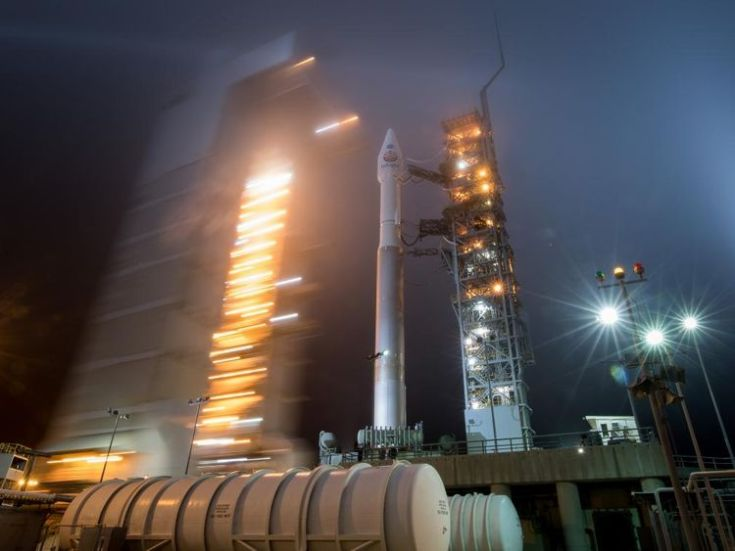 The mobile service tower is rolled back from the rocket this morning. Pic: NASA