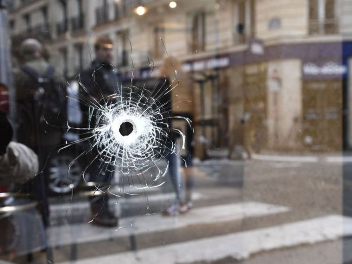 A bullet hole at the site of the attack Paris attacker identified as Chechen-born French citizen Paris attacker identified as Chechen-born French citizen skynews paris attack france 4308632