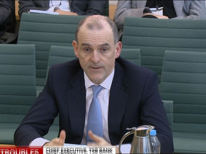 Paul Pester giving evidence to MPs MPs say they have 'lost confidence' in TSB boss Paul Pester MPs say they have 'lost confidence' in TSB boss Paul Pester skynews paul pester tsb committee 4299039