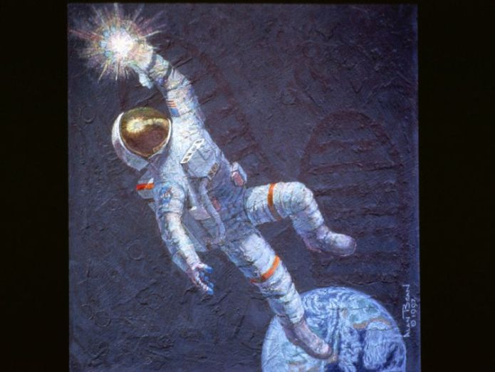 """This mural, """"Reaching for the Stars,"""" is one of the many works Astronaut Alan Bean has been commissioned to paint after he made a successful transition from spaceman to a full-time professional artist in 1981 Moonwalker and space artist Alan Bean dies Moonwalker and space artist Alan Bean dies skynews reaching for the stars 4321688"""