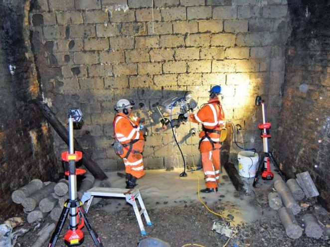 Workers spent 7 days drilling through a 2.5m concrete wall in the tunnel