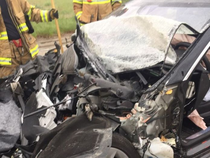 The driver suffered a broken ankle. Pic: South Jordan Police Department Tesla with autopilot crashes into truck at red light Tesla with autopilot crashes into truck at red light skynews south jordan tesla 4308434