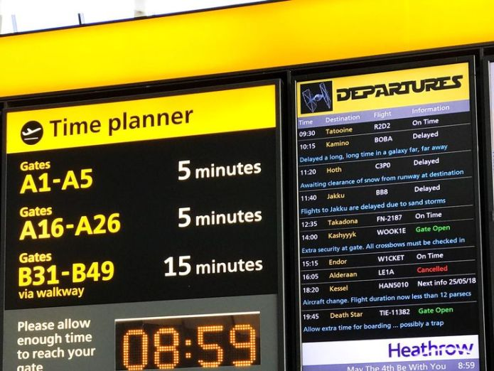 The departures board in Heathrow Which UK airport has the worst punctuality for departing flights? Which UK airport has the worst punctuality for departing flights? skynews star wars heathrow 4300541