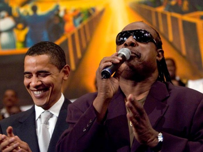 LOS ANGELES - APRIL 29: Democratic presidential hopeful Senator Barack Obama (D-IL) (L) is joined by a singing Stevie Wonder during a service commemorating the Los Angeles riots at the First AME Church April 29, 2007 in Los Angeles, California. The Los Angeles riots, which started 15 years ago on April 29, 1992, lasted three days and resulted in 53 deaths.  (Photo by Ann Johansson/Getty Images) *** Local Caption *** Barack Obama;Stevie Wonder Stevie Wonder attacks Kanye West's claim that 'slavery was a choice' Stevie Wonder attacks Kanye West's claim that 'slavery was a choice' skynews stevie wonder obama 4307939