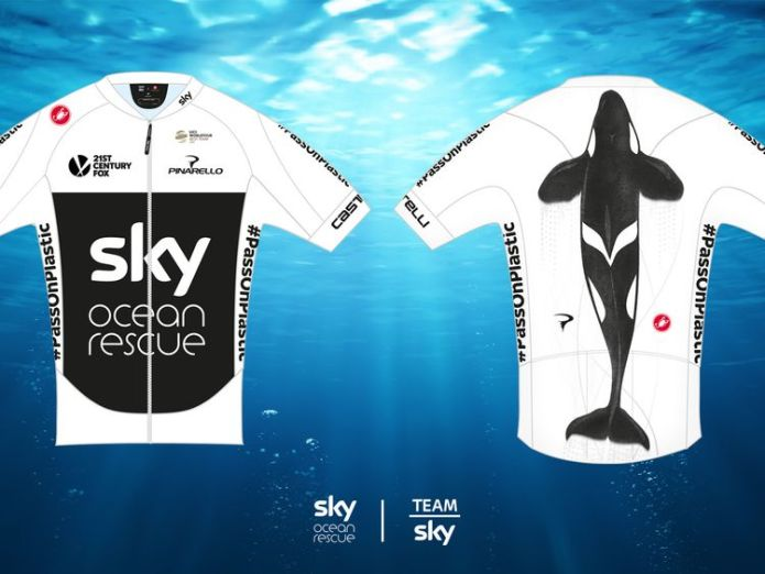 The Ocean Rescue-branded Team Sky jersey team sky backs ocean rescue ahead of tour de france with new kit Team Sky backs Ocean Rescue ahead of Tour de France with new kit skynews team sky ocean rescue 4325057