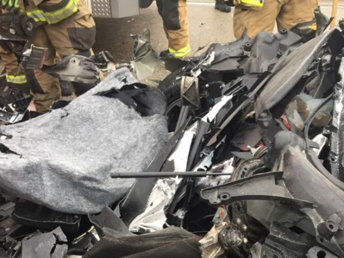 The Tesla's bonnet was entirely crushed. Pic: South Jordan Police Department Tesla with autopilot crashes into truck at red light Tesla with autopilot crashes into truck at red light skynews tesla utah south jordan 4308435